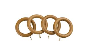 Universal 28mm Antique Pine Wooden Curtain Pole Rings