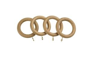Universal 28mm Natural Wooden Curtain Pole Rings