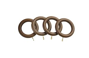Universal 28mm Walnut Wooden Curtain Pole Rings