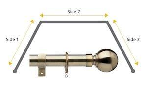 Universal 28mm Ball 3 Sided Bay Window Curtain Pole Antique Brass