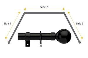 Universal 28mm Ball 3 Sided Bay Window Curtain Pole Black