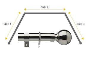 Universal 28mm Ball 3 Sided Bay Window Curtain Pole Satin Steel